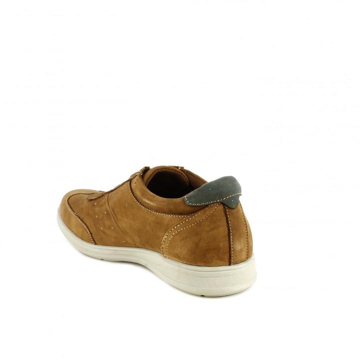 Zapatos sport Vicmart marrones de piel y cordones elásticos - Querol online