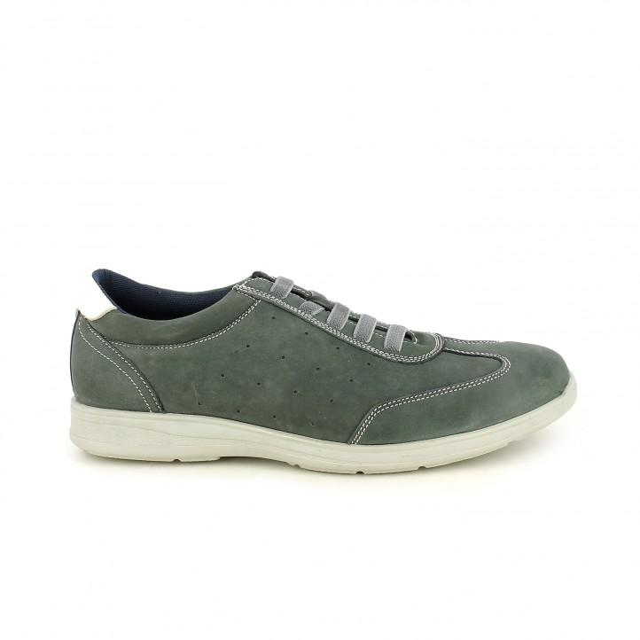 Zapatos sport Vicmart azul marino de piel y cordones elásticos - Querol online