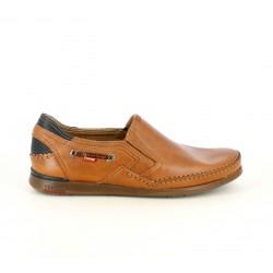 Zapatos sport Fluchos mocasines de piel marrones con detalles azules - Querol online
