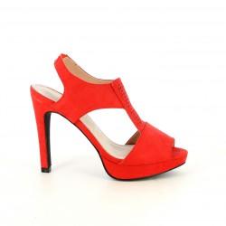 Zapatos tacón Maria Mare rojos de antelina con plantilla de piel - Querol online