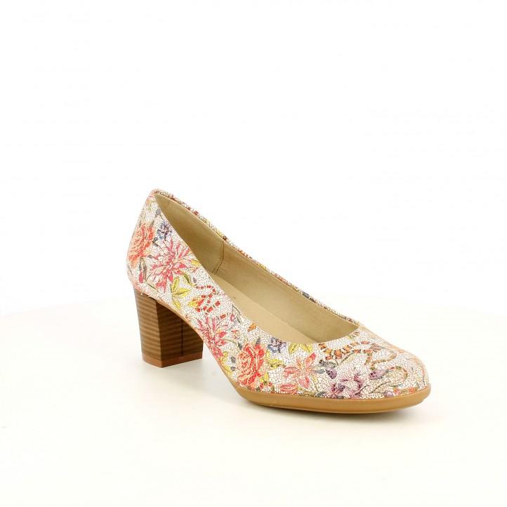 Zapatos tacón Suite009 con estampado de flores estilo mosaico - Querol online