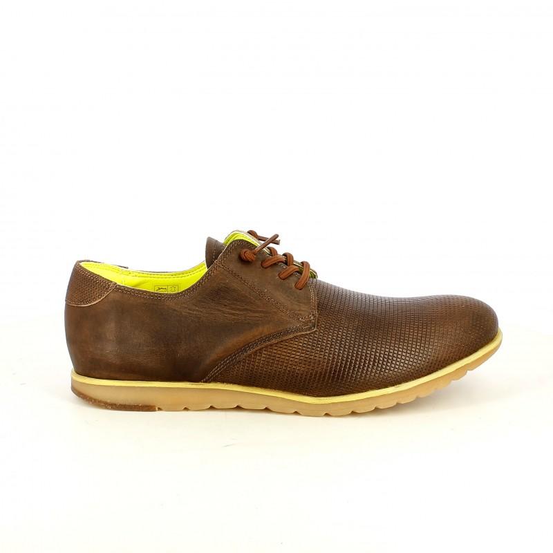 Zapatos Vestir Cetti Marrones De Piel Con Cordones Elásticos