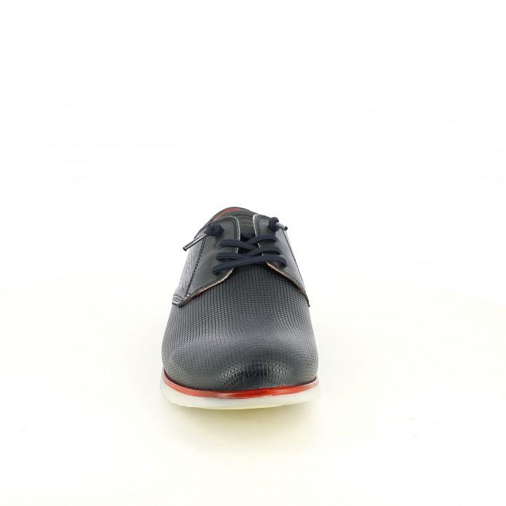 Zapatos vestir Cetti azul marino de piel con cordones elásticos - Querol online