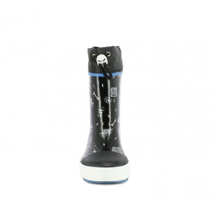 botes aigua Gioseppo negres amb dibuixos estampats amb capdavantera reforçada - Querol online