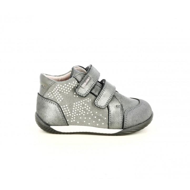 Botins Pablosky gris metal-litzat amb estrella d´adorn i capdavantera reforçada - Querol online