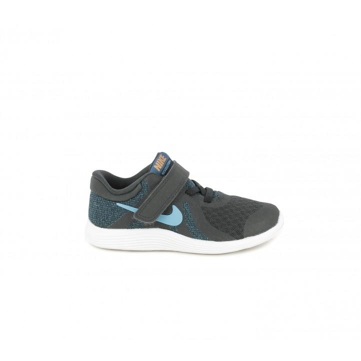 Zapatillas deporte Nike negras con tonos azules tejido de malla transpirable - Querol online