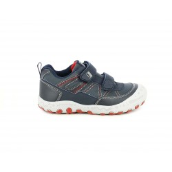Zapatos Gioseppo azul marino con dos velcros y costuras rojas