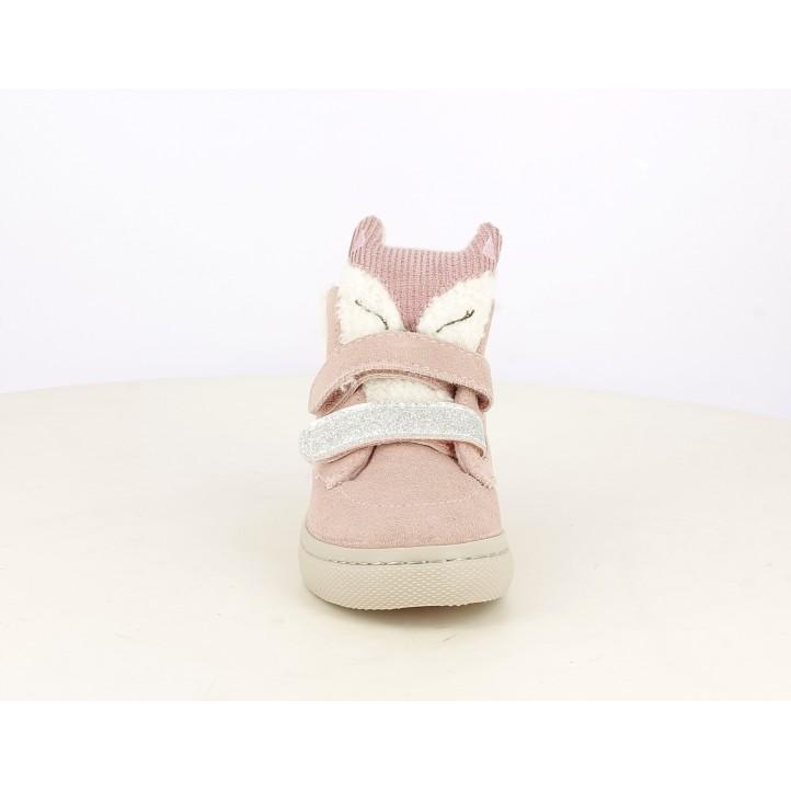 Botines Gioseppo rosa con velcros detalles en purpurina y lengueta en forma de animal - Querol online