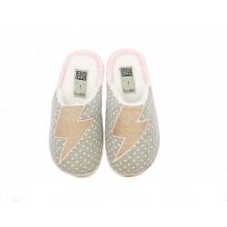 Zapatillas casa Gioseppo gris con topos blancos rayos tejido brillante - Querol online