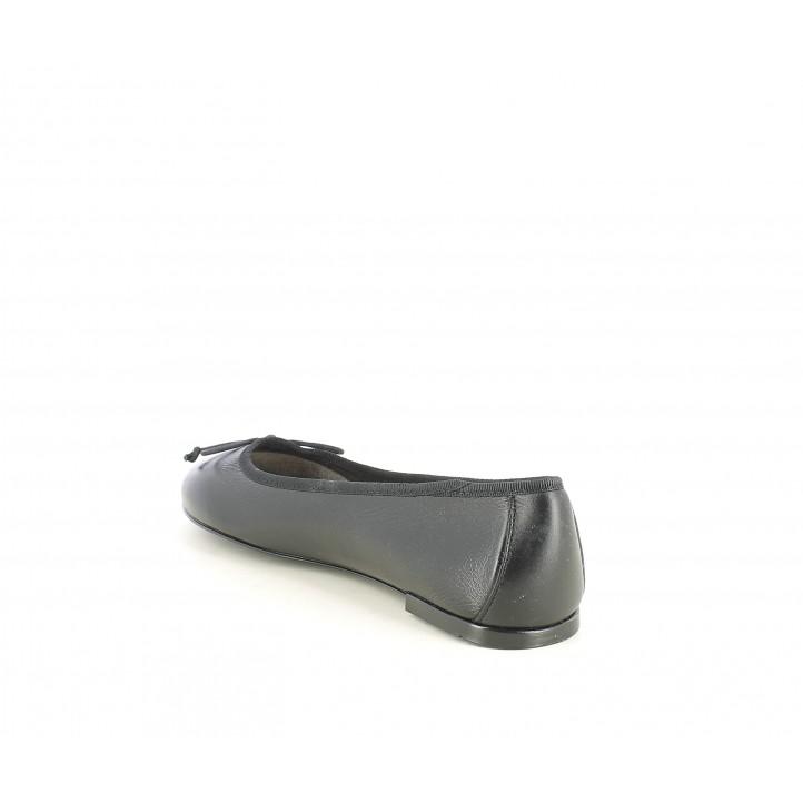 Bailarinas Suite009 negras de piel con lazo negro - Querol online