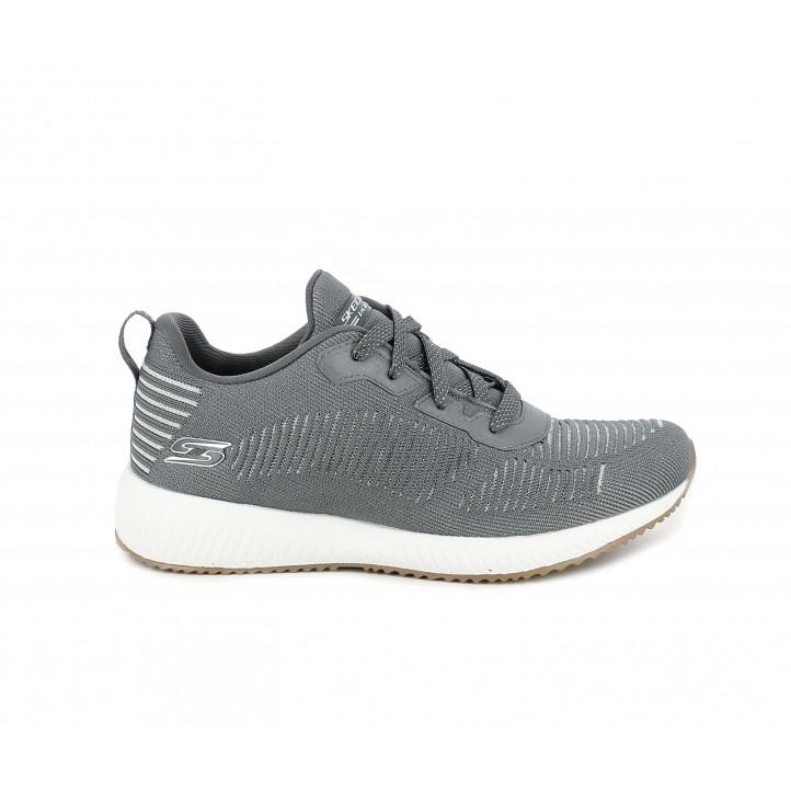 Zapatillas deportivas Skechers gris con detalles brillantes, cordones y plantilla memory foam - Querol online