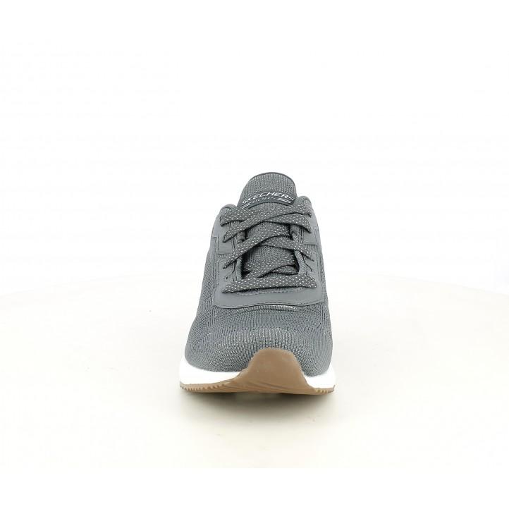 Sabatilles esportives Skechers grisos amb detalls brillants, cordons i plantilla memory foam - Querol online