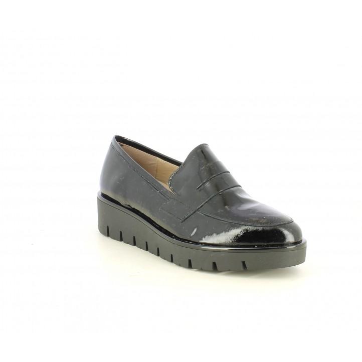 Zapatos planos Suite009 negro de charol con plantilla de piel - Querol online