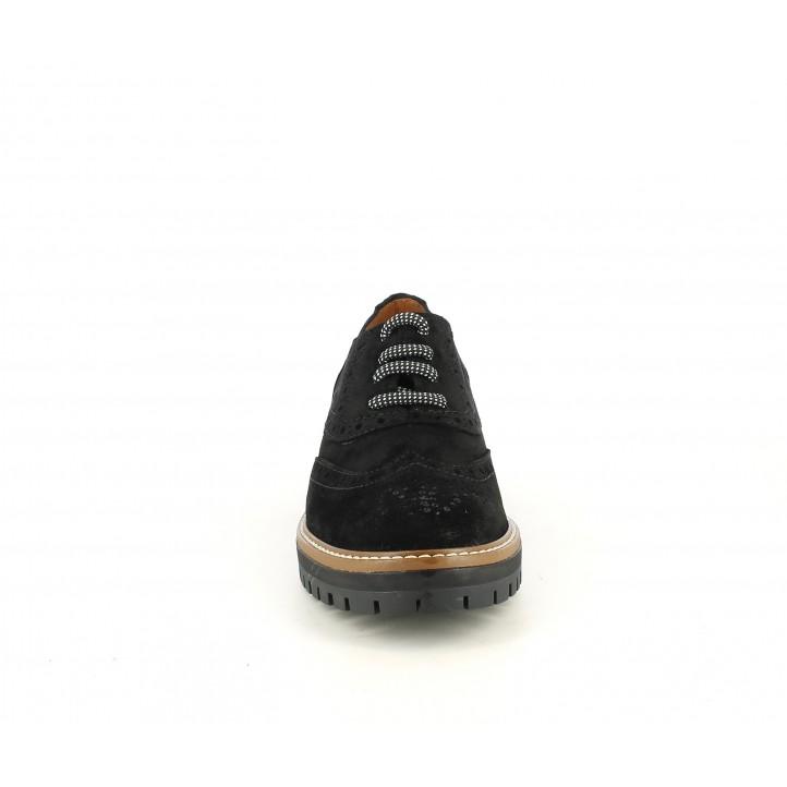 Zapatos planos Redlove negro en serraje engrasado con cordones - Querol online