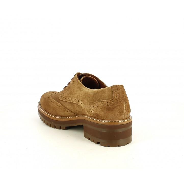 Zapatos planos Redlove marrones en serraje engrasado con cordones - Querol online