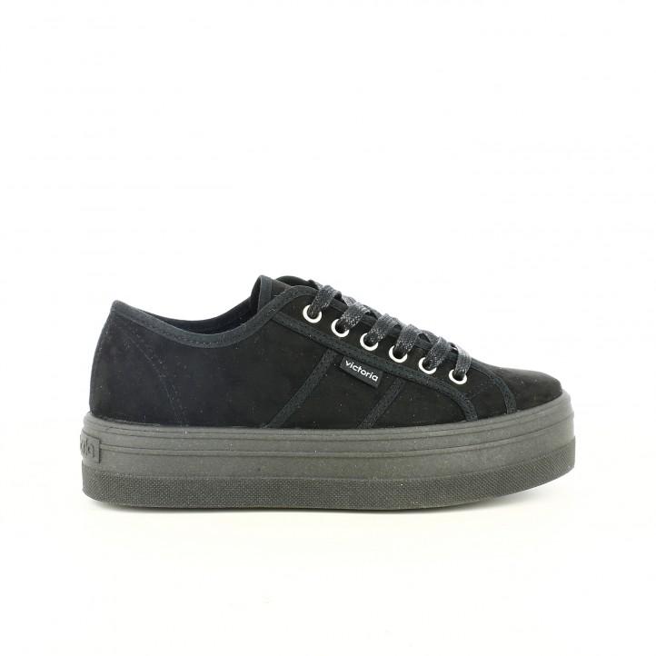Zapatillas lona Victoria negras de lona con plataforma - Querol online