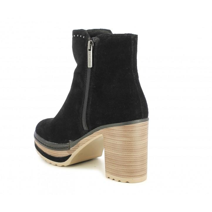 Botines Carmela negros con plataforma y tachas decorativas - Querol online