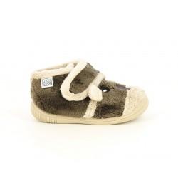 Zapatillas casa Gioseppo marrones con cara de animal, cierre de velcro y suela flexible - Querol online