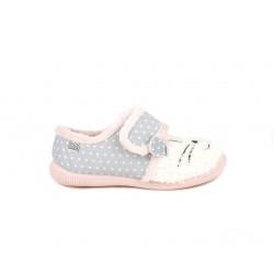 Zapatillas casa Gioseppo gris y rosa con detalle animal , cierre en velcro - Querol online