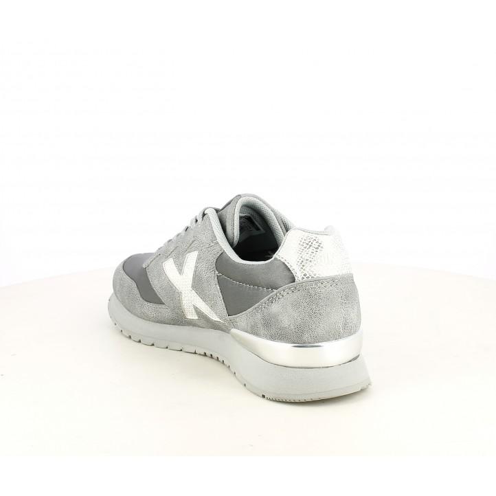 Zapatillas deportivas MUNICH dash kid grises con acabado metalizado - Querol online