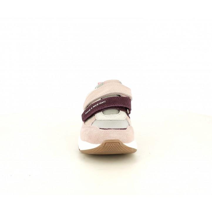 Sabatilles esport Gioseppo rosa i taupe en serratge amb tancament en doble velcro - Querol online
