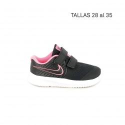 Zapatillas deporte Nike star runner negra con detalles rosa flúor