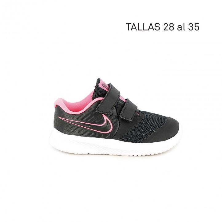 Zapatillas deporte Nike negra con detalles rosa flúor - Querol online