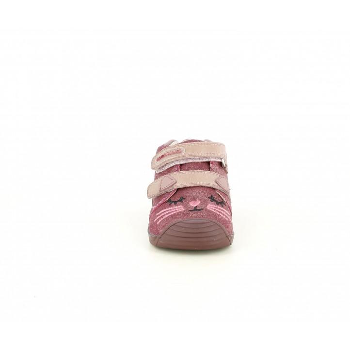 Botins Biomecanics rosa brillant amb tancament en velcro i capdavantera reforzada - Querol online