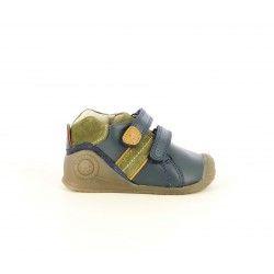 Zapatos abotinados Biomecanics azul marino con serraje en kaki, velcros y puntera reforzada - Querol online