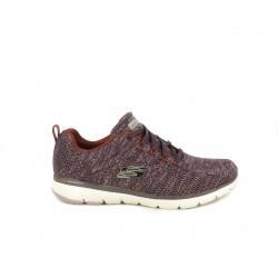Zapatillas deportivas Skechers granate jaspeado con cordones y platilla memory foam - Querol online