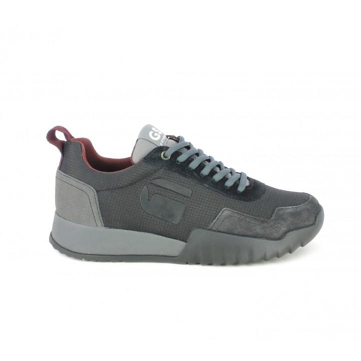Zapatillas deportivas G-Star RAW negras y grises con suela de caucho - Querol online
