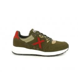 Zapatillas deportivas MUNICH kakis con detalles en rojo y marrones - Querol online