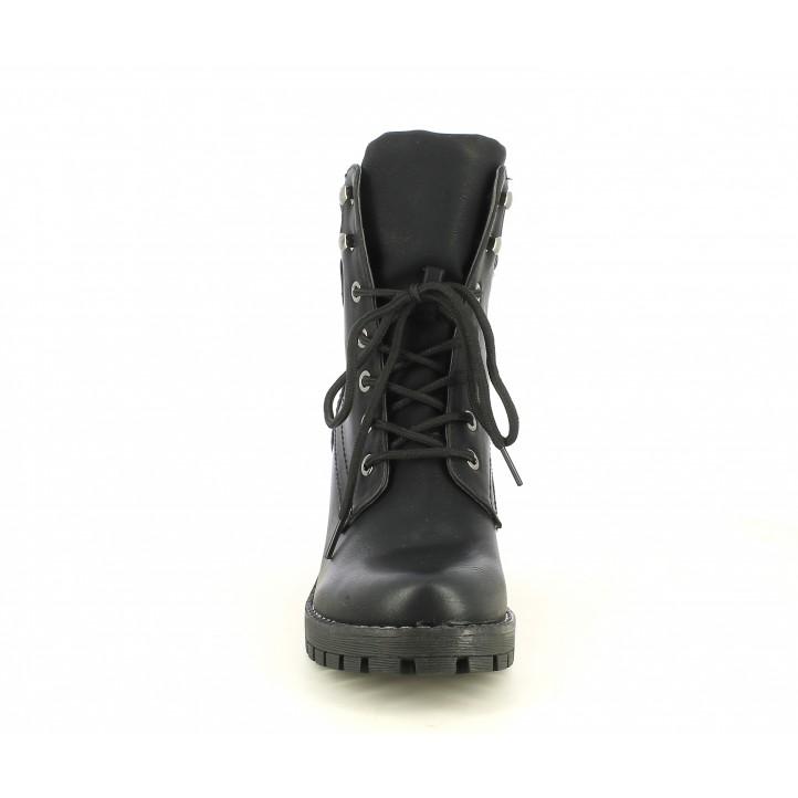 Botas tacón Owel negro con cordones y cremallera interior - Querol online