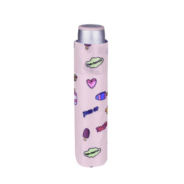 Complements PERLETTI paraiguas rosa amb estampat de dibuixos - Querol online