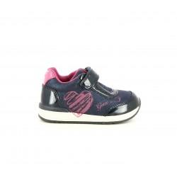 Zapatos abotinados Geox azul marino brillante con cierre de velcro y elásticos - Querol online