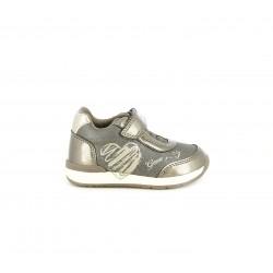 Zapatos abotinados Geox gris brillante con cierre de velcro y elásticos - Querol online
