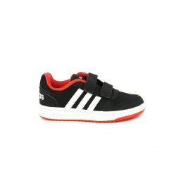 Sabatilles esport Adidas negres amb franges en blanc i sola taronja