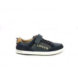 Zapatillas deporte Levi's azul marino con atadura en elástico y velcro - Querol online