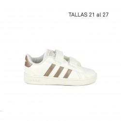 Zapatillas deportivas Adidas blancas y rosa cobre - Querol online