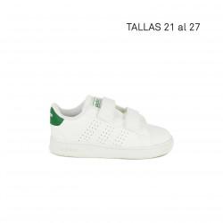 Sabatilles esport Adidas blanques amb detalls en verd i bandes perforades