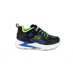 Zapatillas deporte Skechers negra con detalles en azul y verde fluorescente con Luces en la suela - Querol online