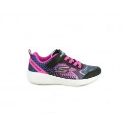 Zapatillas deporte Skechers negra con estampado en rosa y azul cordones elásticos y velcro