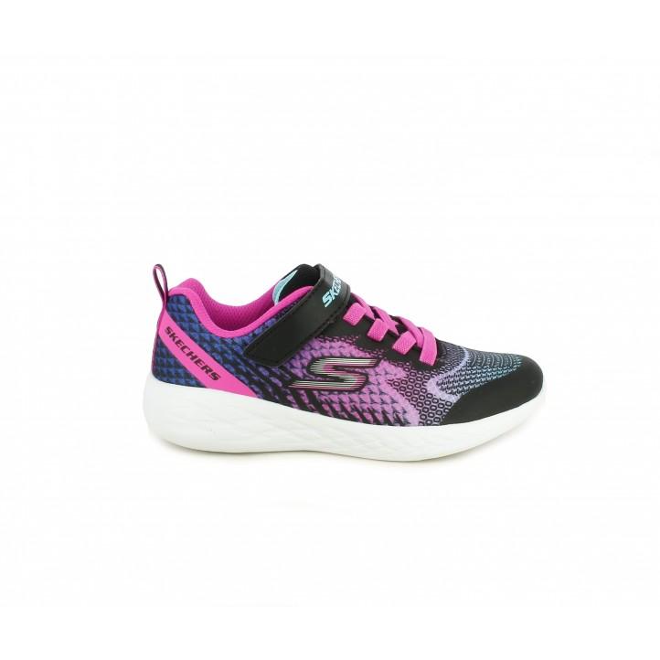 Zapatillas deporte Skechers negra con estampado en rosa y azul cordones elásticos y velcro - Querol online