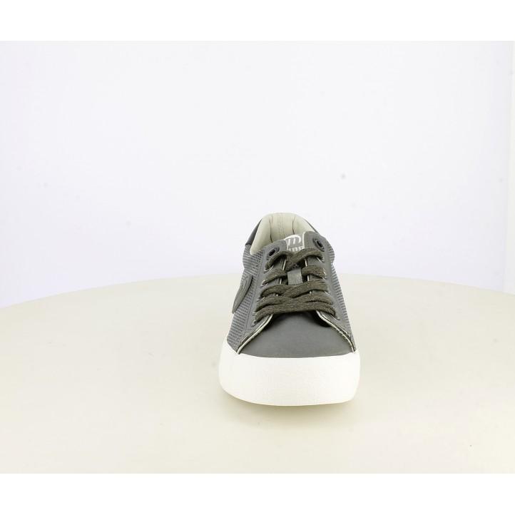 Zapatillas lona Mustang metalizadas en plata con plantilla soft foam - Querol online