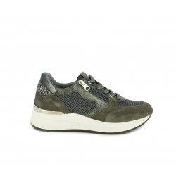 Zapatillas deportivas Nero Giardini gris con detalles brillantes cordones y cremallera lateral