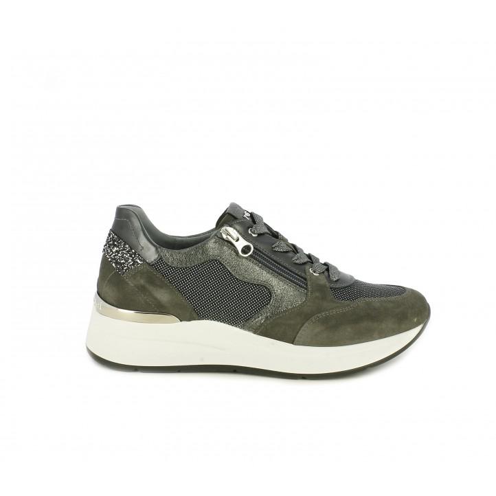 Zapatillas deportivas Nero Giardini gris con detalles brillantes cordones y cremallera lateral - Querol online