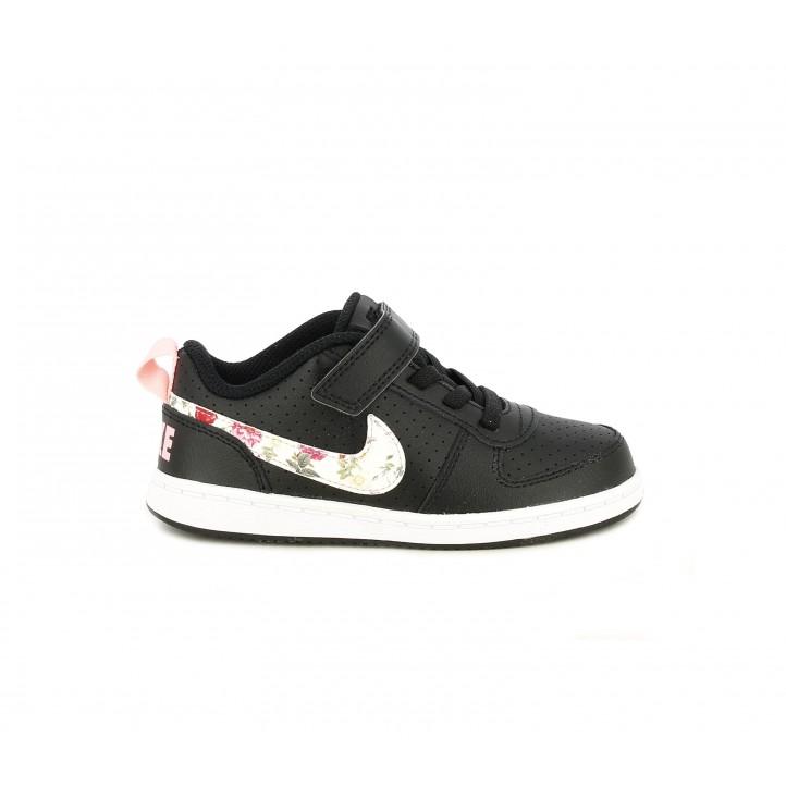 Zapatillas deporte Nike negras con detalles florales - Querol online