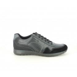 Zapatos sport Geox negros de cordones con detalle en ante - Querol online
