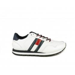 Zapatos sport Tommy Hilfiger bkancos con detalles en azul marino y rojo - Querol online