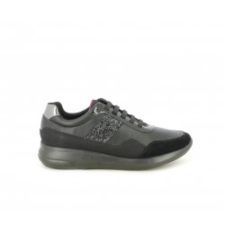 Zapatillas deportivas Geox negras con detalles en purpurina, charol y ante - Querol online